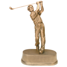 "JDS43 - 8 3/4"" Antique Gold Male Golf Resin"