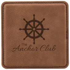 "GFT194 - 4"" x 4"" Square Laserable Leatherette Coaster"