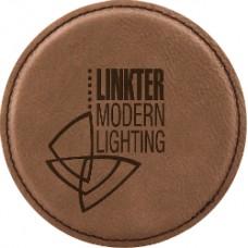 "GFT195 - 4"" Round Laserable Leatherette Coaster"