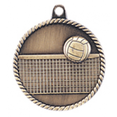 "HR765 - 2"" Antique Gold/Silver/Bronze Volleyball High Relief Medal"