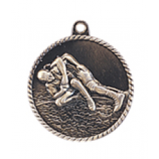 "HR770 - 2"" Antique Gold/Silver/Bronze Wrestler High Relief Medal"