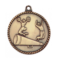 "HR775 - 2"" Antique Gold/Silver/Bronze Cheer High Relief Medal"