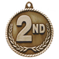 """HR802 - 2"""" Antique Gold/Silver/Bronze 2ND Place High Relief Medal"""