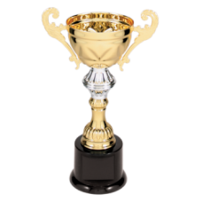 "CMC201G - 8 3/4"" Gold Completed Metal Cup Trophy on Plastic Base"