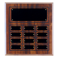 CPP12 Cherry Finish Grooved Perpetual Plaque with 12 Plates.