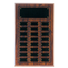 CPP24 Cherry Finish Grooved Perpetual Plaque with 24 Plates.
