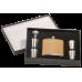 FSK652SETA 6 oz. Matte Black Stainless Steel Flask Set with Presentation Box Includes Flask, 4 Glasses & 1 Funnel.