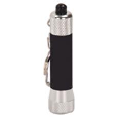 """GFT065 - 2 3/4"""" Black 1-LED Laserable Flashlight with Keychain"""