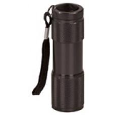 "GFT075 - 3 3/8"" Black 9-LED Laserable Flashlight with Strap"