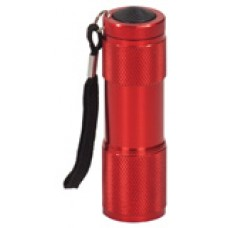 """GFT076 - 3 3/8"""" Red 9-LED Laserable Flashlight with Strap"""