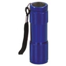 "GFT077 - 3 3/8"" Blue 9-LED Laserable Flashlight with Strap"