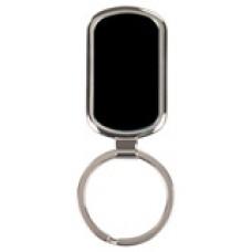 "GFT090 - 1 1/8"" x 1 7/8"" Black Laserable Rectangle Keychain"