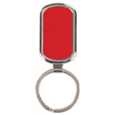 """GFT091 - 1 1/8"""" x 1 7/8"""" Red Laserable Rectangle Keychain"""
