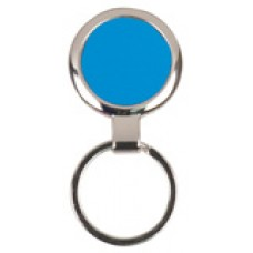 "GFT098 - 2 1/2"" Blue Laserable Round Keychain"