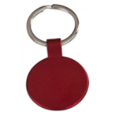 """GFT111 - 1 1/2"""" Red Laserable Round Keychain"""