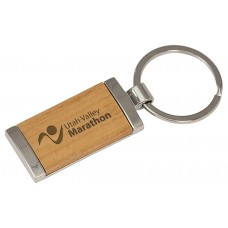 """GFT135 - 7/8"""" x 1 7/8"""" Silver/Wood Laserable Rectangle Keychain"""