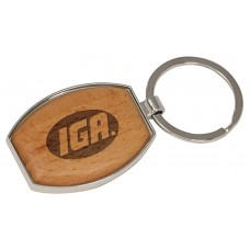 """GFT137 - 1 1/2"""" x 1 15/16"""" Silver/Wood Laserable Oval Keychain"""