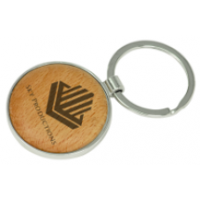 """GFT138 - 1 5/8"""" Silver/Wood Laserable Round Keychain"""