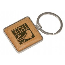 """GFT139 - 1 9/16"""" x 1 9/16"""" Silver/Wood Laserable Square Keychain"""