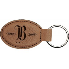 """GFT176 - 3"""" x 1 3/4"""" Dark Brown Laserable Leatherette Oval Keychain"""