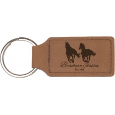 "GFT178 - 2 3/4"" x 1 1/4"" Dark Brown Leatherette Rectangle Keychain"