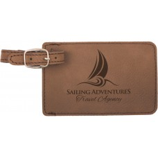 """GFT180 - 4 1/4"""" x 2 3/4"""" Dark Brown Laserable Leatherette Luggage Tag"""