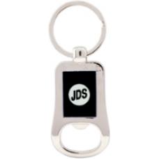 "GFT201 - 2 1/8"" Silver/Black Laserable Bottle Opener Keychain"