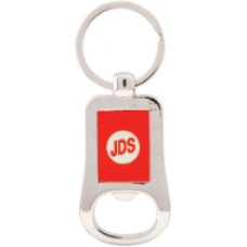 "GFT202 - 2 1/8"" Silver/Red Laserable Bottle Opener Keychain"