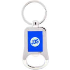 """GFT203 - 2 1/8"""" Silver/Blue Laserable Bottle Opener Keychain"""