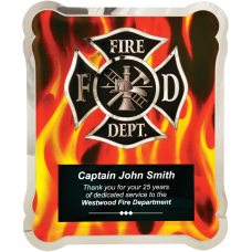 HER101 Firefighter Hero Plaque with Vertical Flames.
