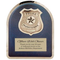 HER103 Police Hero Plaque with Chrome Badge.