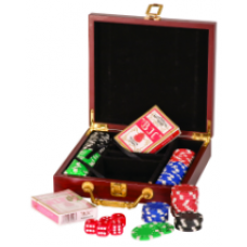 PKR01 Rosewood Finish 100 Chip Poker Gift Set