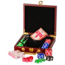 PKR01 Rosewood Finish 100 Chip Poker Gift Set