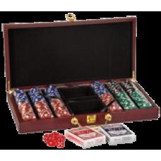 PKR02 Rosewood Finish 300 Chip Poker Set