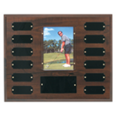 "PTP2 Cherry Finish Perpetual Plaque with 12 Plates & 3 1/2"" x 5"" Photo Holder."