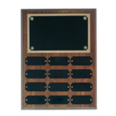 WPP12 Genuine Walnut Step Edge Perpetual Plaque with 12 Plates Size.