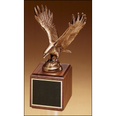 1293-XL Fully modeled antique bronze eagle casting on a walnut base.