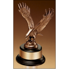 1295-XL Fully modeled antique bronze eagle casting on a black wood base.