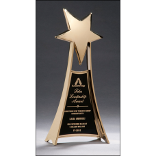 1502 Large and impressive metal star trophy in gold finish.