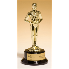 1581-X Classic Achiever Trophy cast metal figurine hand-polished with goldtone finish on black piano-finish base.