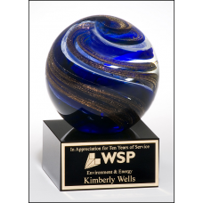 2123 Art glass globe with blue, white and metallic gold highlights on black glass base with felt bottom.