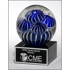 2142 Art glass globe with blue and white sea anemone design on black glass base with felt bottom.