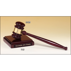 5120 Rosewood stained piano finished gavel with brass band and sounding block with felt bottom.