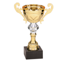 "CMC251G - 8"" Gold/Silver Completed Metal Cup Trophy on Marble Base"