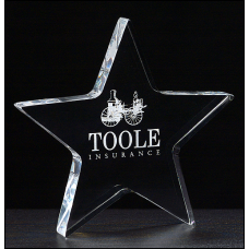 "A6730 Star Paperweight in 3/4"" thick clear acrylic."