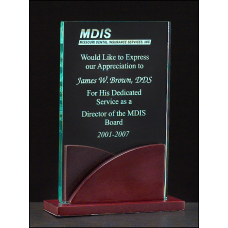"A6804 Premium Series 3/8"" thick acrylic award on a mahogany finish base."
