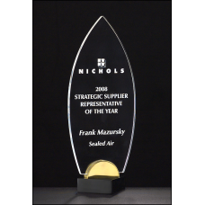"A6810 Flame Series 3/8"" thick acrylic award on black and gold metal base."