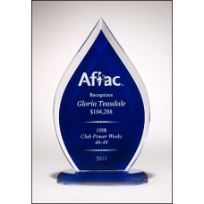 A6857 Flame Series clear acrylic award with blue silk screened back.