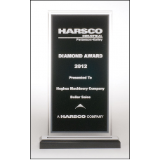 A6861 Clear acrylic award with black center and silver mirror border on a black acrylic base.