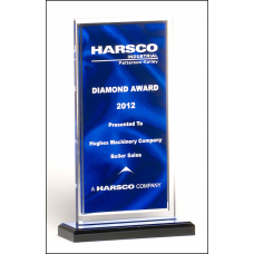 A6865 Clear acrylic award with dark blue draped satin pattern and silver mirror border on a black acrylic base with blue mirror top.